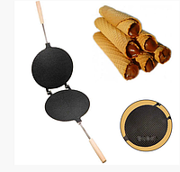 Форма для выпечки вафельных трубочек вафельница круглая 220 мм с антипригарным / тефлоновым покрытием