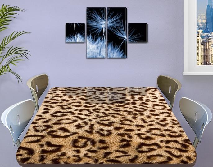 Виниловая наклейка на стол Шкура Леопарда гепард самоклеющаяся двойная пленка, бежевый 60 х 100 см