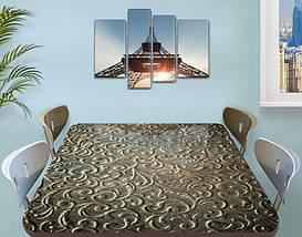 Виниловая наклейка на стол Растительные узоры завитки самоклеющаяся двойная пленка, оливковый 60 х 100 см, фото 3