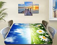 Наклейка на стол Зеленое поле Ромашек, самоклеющаяся виниловая пленка с рисунком, цветы, голубой 60 х 100 см