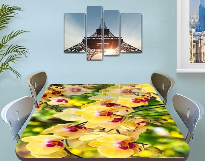 Наклейка на стол Желтые пышные Орхидеи, самоклеющаяся пленка с фотопечатью, цветы, желтый 60 х 100 см