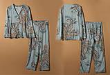 Піжама жіноча бавовняна на гудзиках. Комплект для дому, сну з довгим рукавом, р. M (блакитний), фото 6