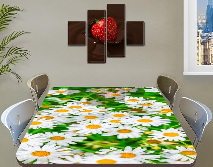 Наклейка на стол Веселые Ромашки белые, наклейки для дизайна интерьера пленка, цветы, белый 60 х 100 см