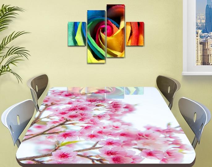 Наклейка на стол Розовая Сакура цветы вишни, самоклеющаяся виниловая пленка, цветы, розовый 60 х 100 см