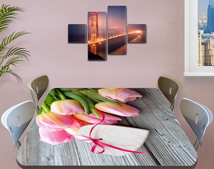 Наклейка на стол Розовые нежные Тюльпаны, виниловая интерьерная пленка для декора, цветы, розовый 60 х 100 см