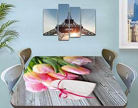 Наклейка на стол Розовые нежные Тюльпаны, виниловая интерьерная пленка для декора, цветы, розовый 60 х 100 см, фото 3