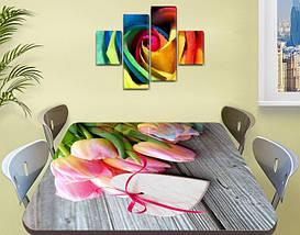 Наклейка на стол Розовые нежные Тюльпаны, виниловая интерьерная пленка для декора, цветы, розовый 60 х 100 см, фото 2