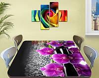Наклейка на стол Фиолетовые орхидеи на черном фоне, пленка для декора мебели, цветы, фиолетовый 60 х 100 см