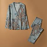 Піжама жіноча бавовняна на гудзиках. Комплект для дому, сну з довгим рукавом, р. M (блакитний), фото 5