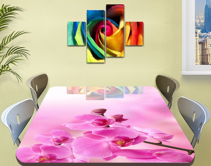 Наклейка на стол Розовые орхидеи бутоны, декоративные наклейки для кухни фотопечать цветы, розовый 60 х 100 см