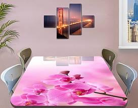 Наклейка на стол Розовые орхидеи бутоны, декоративные наклейки для кухни фотопечать цветы, розовый 60 х 100 см, фото 3