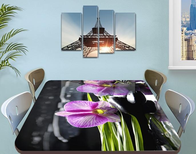 Наклейка на стол Нежная фиолетовая Орхидея, виниловая пленка декор для мебели, цветы, фиолетовый, 60 х 100 см