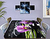 Наклейка на стол Нежная фиолетовая Орхидея, виниловая пленка декор для мебели, цветы, фиолетовый, 60 х 100 см, фото 3