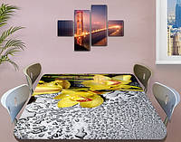 Наклейка на стол Желтые орхидеи и капли росы, интерьерные наклейки на кухню столы, цветы, желтый, 60 х 100 см
