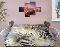Наклейка на стол Белые хризантемы, виниловые интерьерные наклейки для мебели, цветы, белый, 60 х 100 см