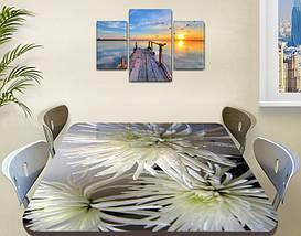 Наклейка на стол Белые хризантемы, виниловые интерьерные наклейки для мебели, цветы, белый, 60 х 100 см, фото 3