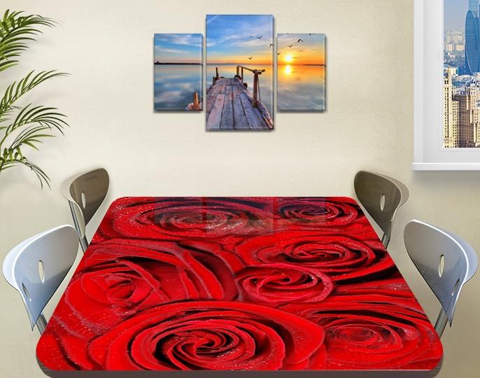 Наклейка на стол Алые розы Красные бутоны, Пленка самоклейка для мебели фотопечать, цветы, красный 60 х 100 см