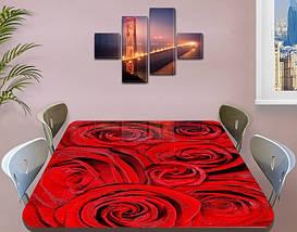 Наклейка на стол Алые розы Красные бутоны, Пленка самоклейка для мебели фотопечать, цветы, красный 60 х 100 см, фото 3