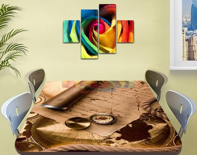 Виниловая наклейка на стол Письмо ламинированная двойная пленка, 60 х 100 см, абстракция, бежевый