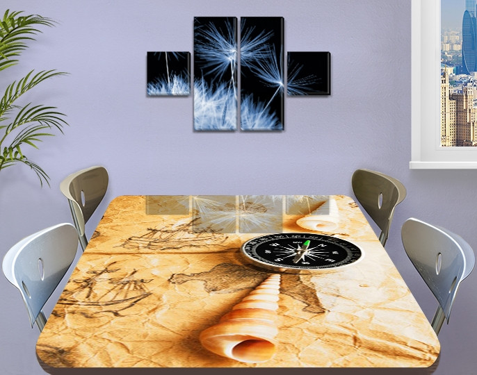 Наклейка на стол Морское приключение, карта компас ракушка, пленка декор пвх, бежевый 60 х 100 см