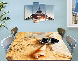 Наклейка на стол Морское приключение, карта компас ракушка, пленка декор пвх, бежевый 60 х 100 см, фото 3