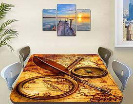 Виниловая наклейка на стол Старинная карта и компас, Самоклеющаяся пленка с фотопечатью, бежевый 60 х 100 см, фото 2