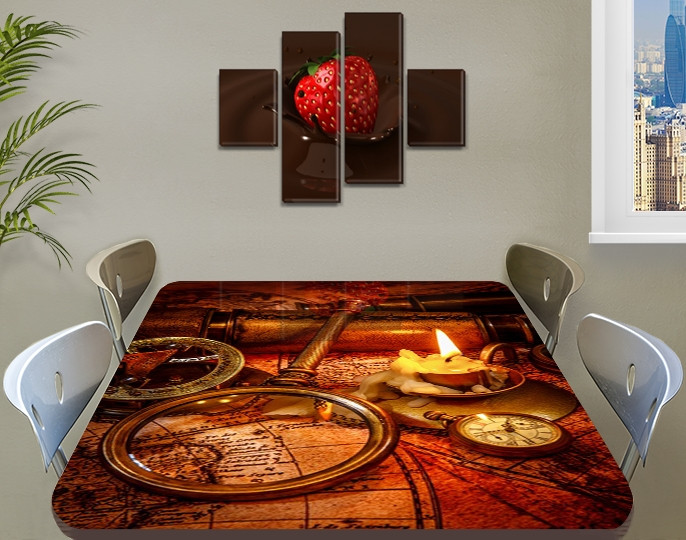 Виниловая наклейка Стол Пирата, самоклеющаяся пленка для мебели, старинная карта, коричневый 60 х 100 см