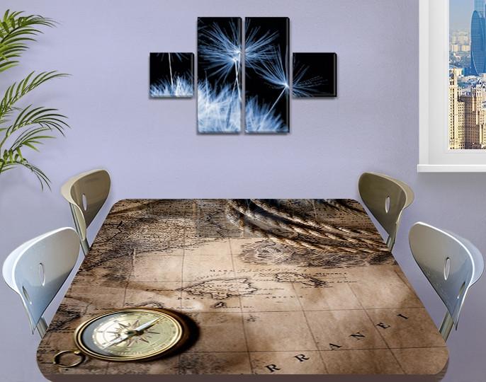 Виниловая наклейка на стол Пиратская карта и Компас, наклейки для декора столов и мебели, серый 60 х 100 см