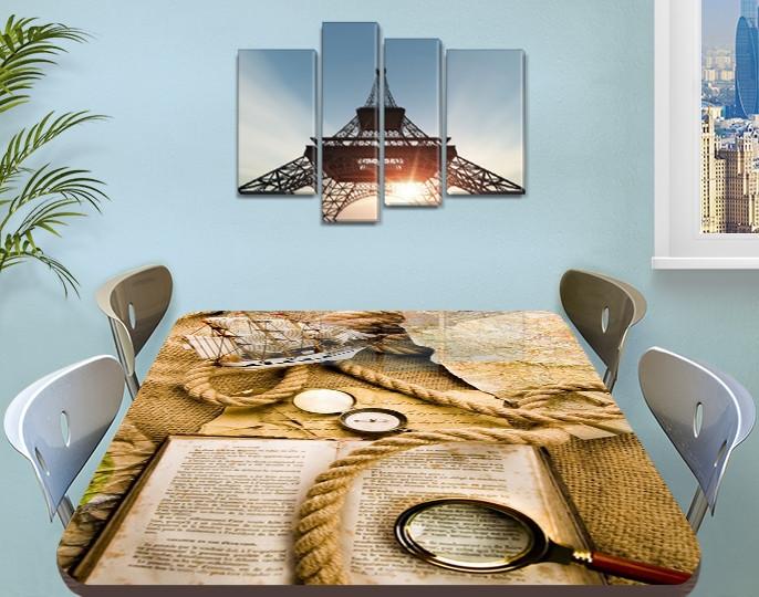 Виниловая наклейка на стол Шерлок (книга, лупа, канат, декоративная пленка), абстракция, бежевый 60 х 100 см