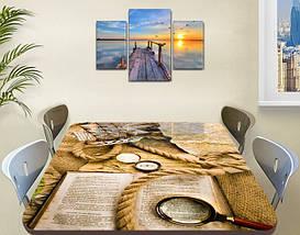 Виниловая наклейка на стол Шерлок (книга, лупа, канат, декоративная пленка), абстракция, бежевый 60 х 100 см, фото 3