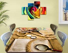 Виниловая наклейка на стол Шерлок (книга, лупа, канат, декоративная пленка), абстракция, бежевый 60 х 100 см, фото 2