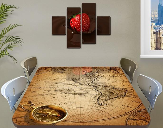 Виниловая наклейка на стол Старинная карта чертеж, интерьерная пленка декор, абстракция бежевый 60 х 100 см