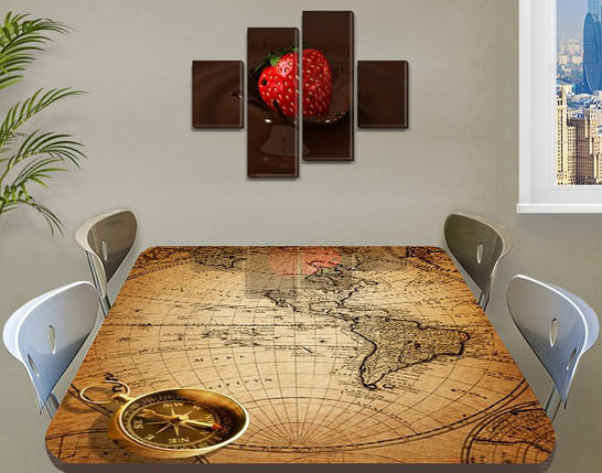 Виниловая наклейка на стол Старинная карта чертеж, интерьерная пленка декор, абстракция бежевый 60 х 100 см, фото 2