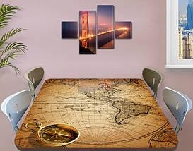 Виниловая наклейка на стол Старинная карта чертеж, интерьерная пленка декор, абстракция бежевый 60 х 100 см, фото 3