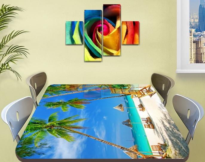 Виниловая наклейка на стол Бирюзовая вода и Пальмы пляж самоклеющаяся пленка декор море, голубой 60 х 100 см