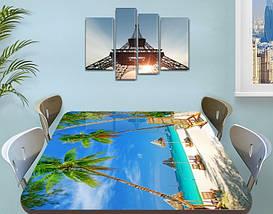 Виниловая наклейка на стол Бирюзовая вода и Пальмы пляж самоклеющаяся пленка декор море, голубой 60 х 100 см, фото 3