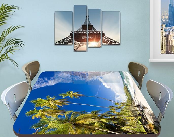 Виниловая наклейка на стол Тропические Пальмы Небо самоклеющаяся пленка с рисунком море, голубой 60 х 100 см