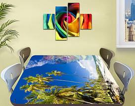 Виниловая наклейка на стол Тропические Пальмы Небо самоклеющаяся пленка с рисунком море, голубой 60 х 100 см, фото 2