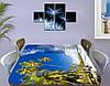 Виниловая наклейка на стол Тропические Пальмы Небо самоклеющаяся пленка с рисунком море, голубой 60 х 100 см, фото 3