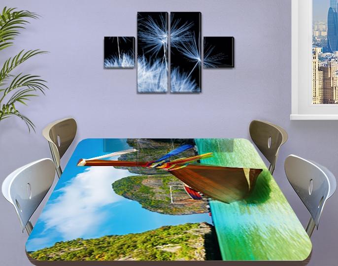 Виниловая наклейка на стол Лодка Тайланд горы самоклеющаяся пленка с рисунком море, зеленый 60 х 100 см