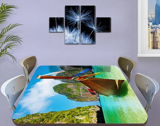 Виниловая наклейка на стол Лодка Тайланд горы самоклеющаяся пленка с рисунком море, зеленый 60 х 100 см, фото 2