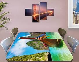Виниловая наклейка на стол Лодка Тайланд горы самоклеющаяся пленка с рисунком море, зеленый 60 х 100 см, фото 3