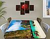 Виниловая наклейка на стол Тайланд горы и лодки самоклеющаяся пленка с рисунком море, зеленый 60 х 100 см, фото 2