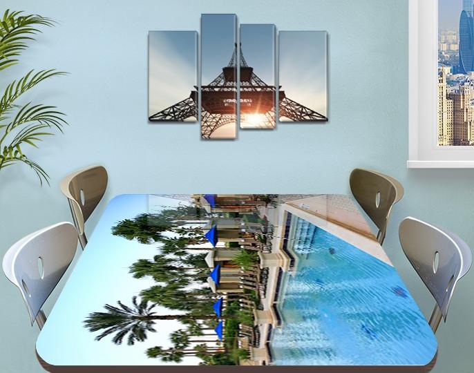 Виниловая наклейка на стол Курорт Бассейн с пальмами самоклеющаяся пленка с рисунком море, голубой 60 х 100 см