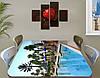 Виниловая наклейка на стол Курорт Бассейн с пальмами самоклеющаяся пленка с рисунком море, голубой 60 х 100 см, фото 2