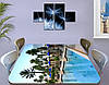 Виниловая наклейка на стол Курорт Бассейн с пальмами самоклеющаяся пленка с рисунком море, голубой 60 х 100 см, фото 3
