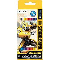 Карандаши цветные 12шт/24цв. Kite Transformers двухсторонние TF20-054