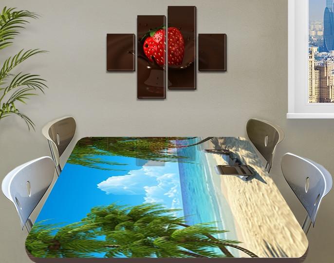 Виниловая наклейка на стол Песочный пляж голубая вода Пальмы пленка декоративная море, голубой 60 х 100 см