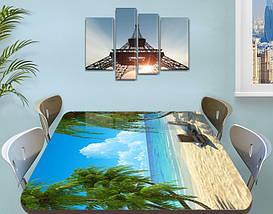 Виниловая наклейка на стол Песочный пляж голубая вода Пальмы пленка декоративная море, голубой 60 х 100 см, фото 3