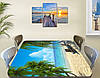Виниловая наклейка на стол Песочный пляж голубая вода Пальмы пленка декоративная море, голубой 60 х 100 см, фото 2